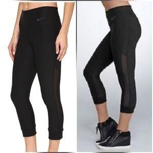 Nike Power Crop Pants Legging Tights Black Mesh